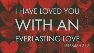 Jeremiah 31:3 on heart background